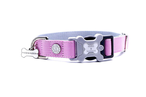 Hugo & Hudson Bone Clasp Collar - Hugo & Hudson Pink Gingham Premium Dog Collar