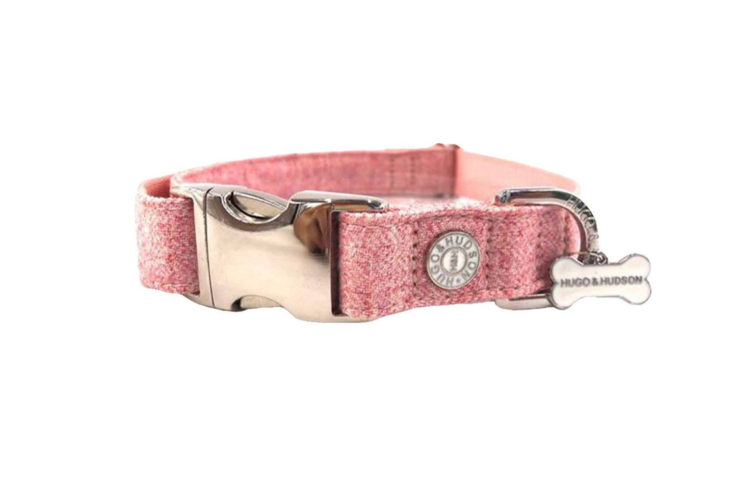 Hugo & Hudson Bone Clasp Collar - Hugo & Hudson Pink Tweed Metal Clasp Collar