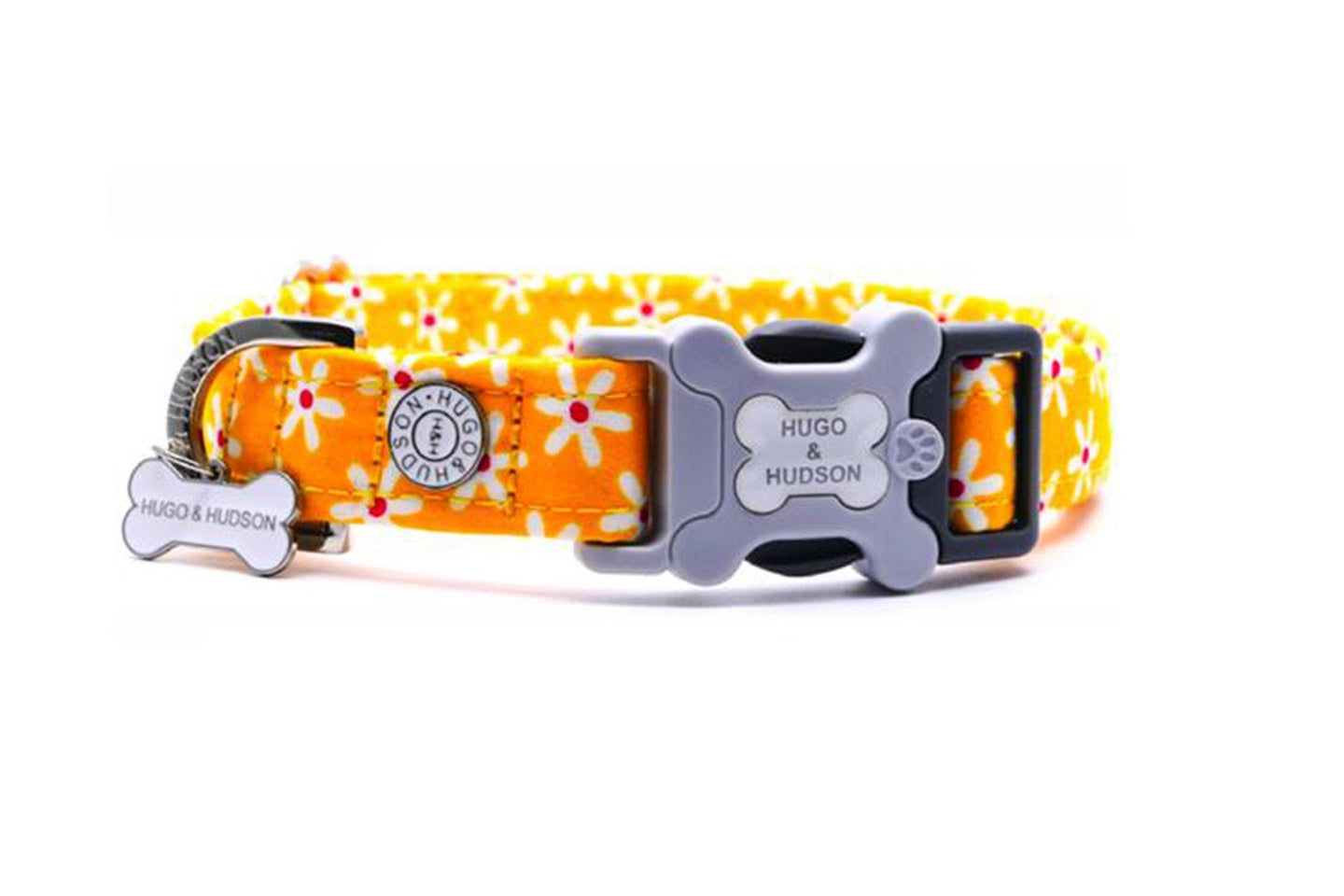Hugo & Hudson Bone Clasp Collar - Hugo & Hudson Yellow Floral Bone Clasp Collar & Lead Combination
