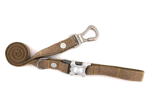 Hugo & Hudson Brown Check Tweed Easy Attachable Dog Lead