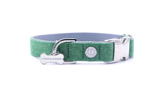 Metal Bucke Dog Collar - Hugo & Hudson Green Herringbone Premium Dog Collar