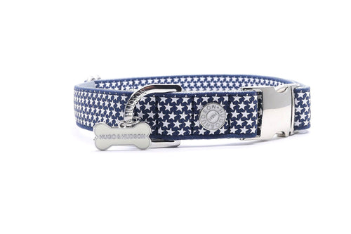 Metal Bucke Dog Collar - Hugo & Hudson Navy Blue Star Premium Dog Collar
