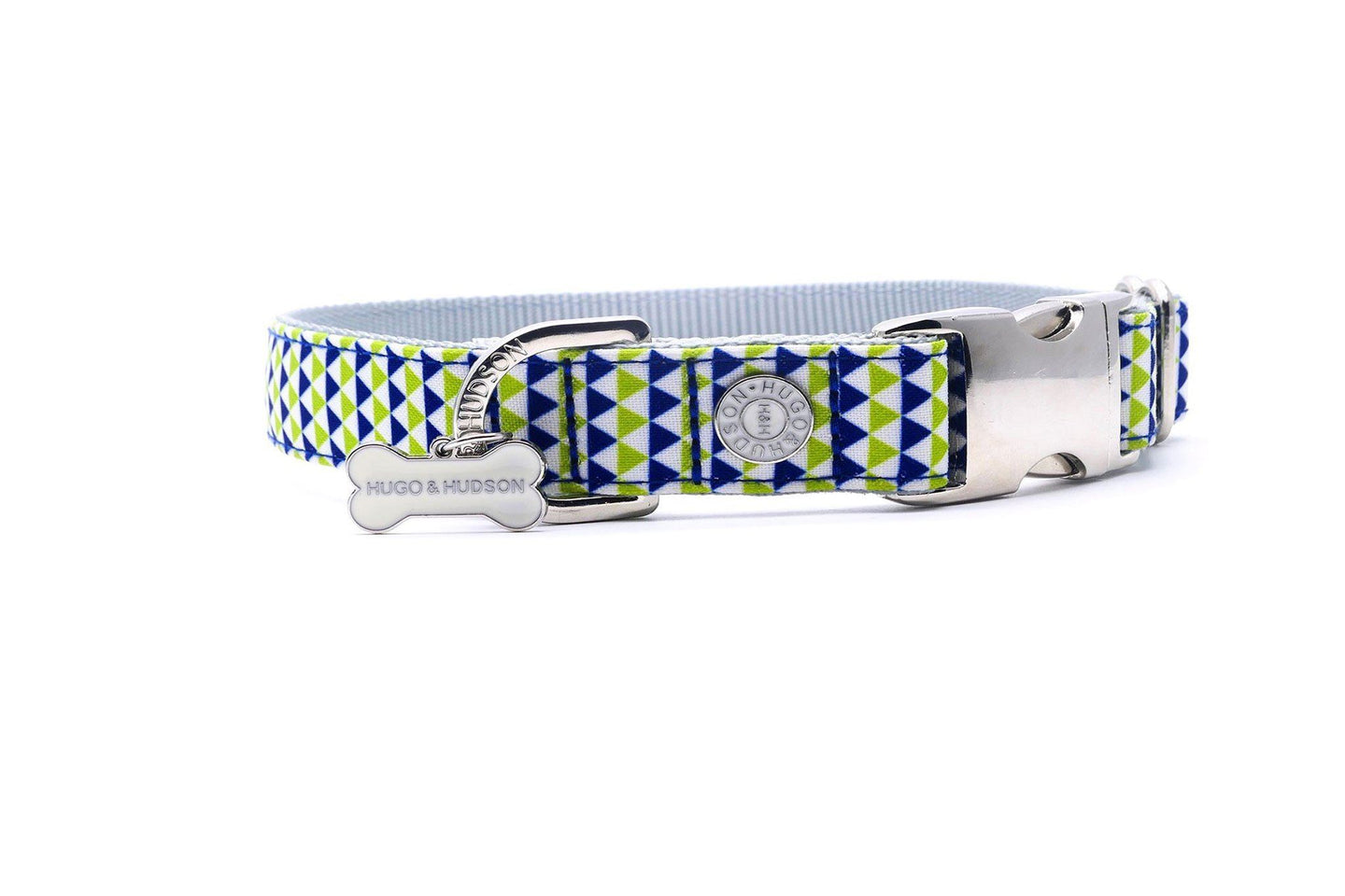 Metal Bucke Dog Collar - Hugo & Hudson Navy & Green Geometric Premium Dog Collar