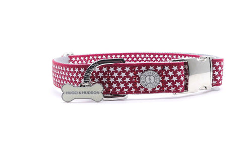 Metal Bucke Dog Collar - Hugo & Hudson Red Star Premium Dog Collar