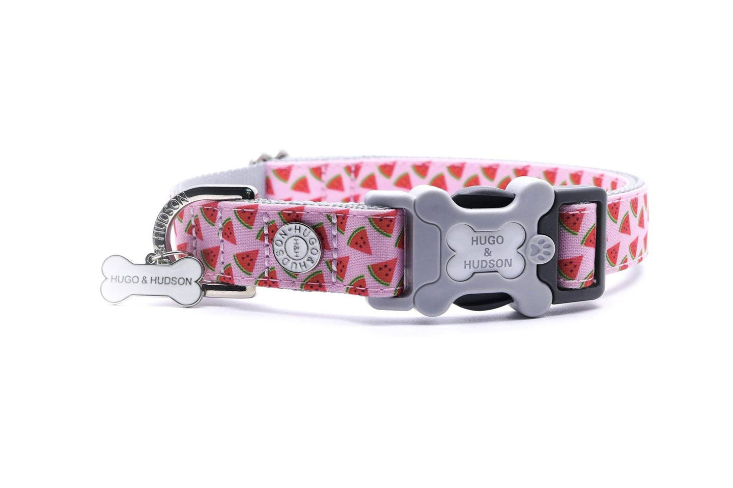 Metal Bucke Dog Collar - Hugo & Hudson Watermelon Premium Dog Collar