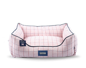 Hugo & Hudson Pink Check Tweed Dog Bed