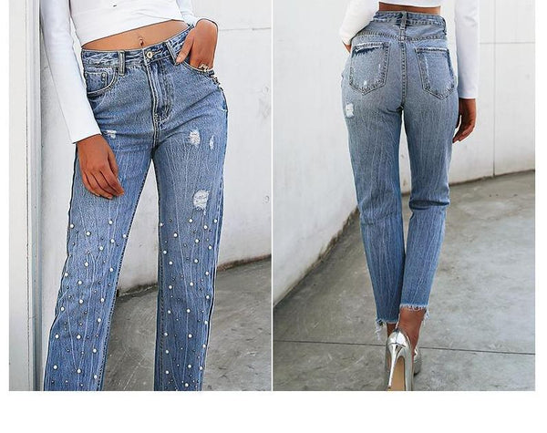 High Waist Pearlized Jeans