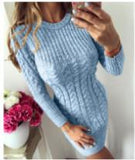 Long Sleeve Pullover Knitted Sweater Dress