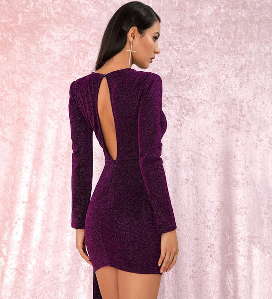 Sexy Purple Ribbon Long Sleeve Party Dress