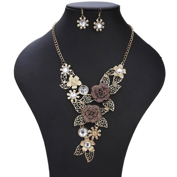 Flower Necklace and Earrings