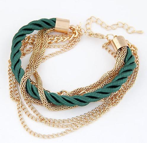 Gold Color Chain and Braided Rope Bracelet
