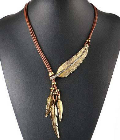 Alloy Feather Necklaces