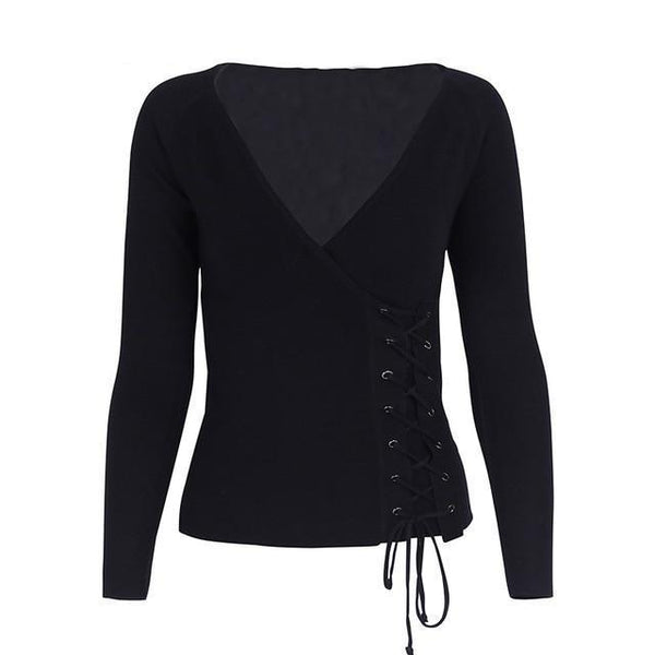Casual side lace up v neck pullover knit women's sweater women