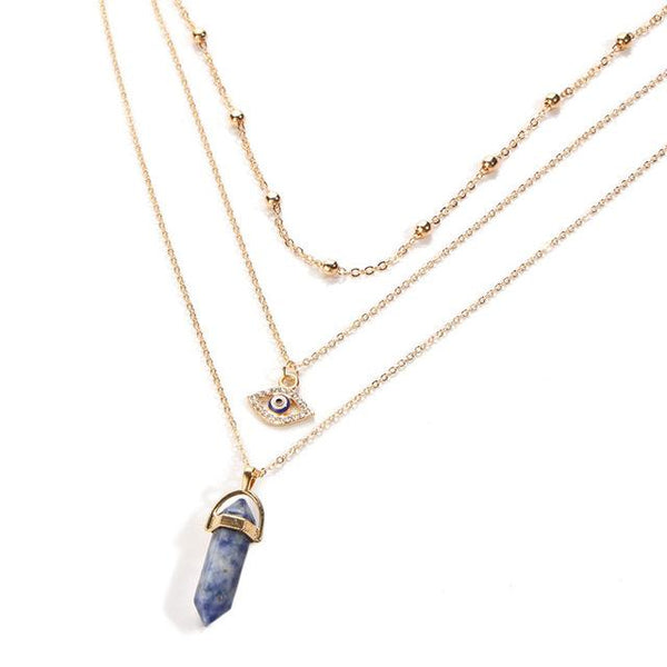 Opal Stone Multi Layer Crystal Necklace