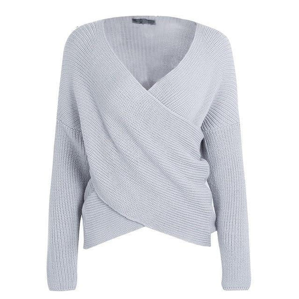 Snuggly warm pullover Criss-Cross v neck knit women's winter sweater