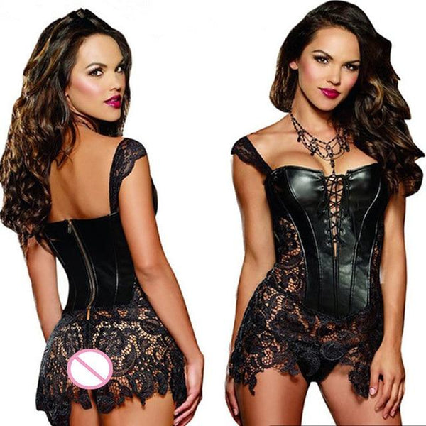Erotic Leather and Lace Corset Lingerie