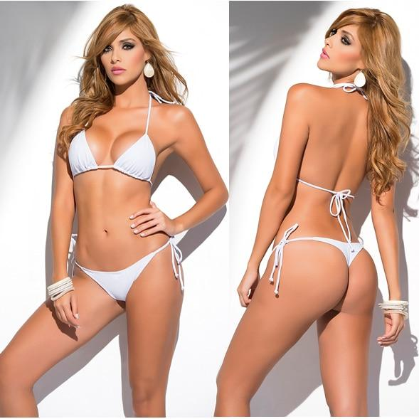 Triangle Top String Bikini with Scrunch bottoms