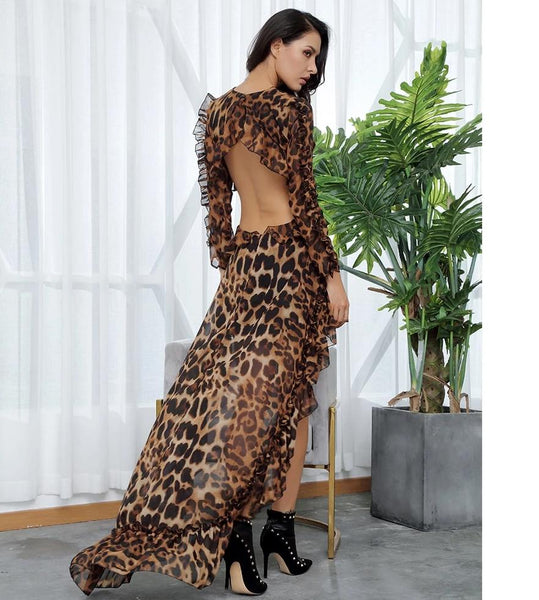 Sexy Cut Out Open Black Leopard Chiffon Dress