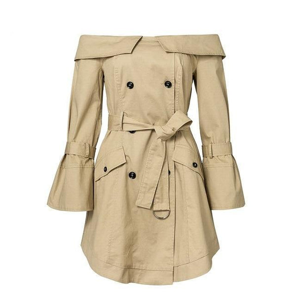 Women's Fashion off the shoulder double breasted khaki trench coat dress.