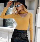 Women's Fall long sleeve solid knit pullover sweater with scoop neck and band