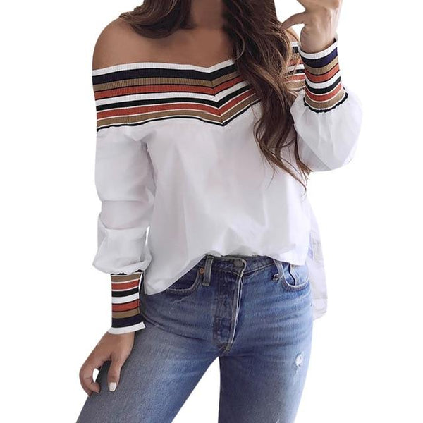Casual Multicolor Long Sleeve Off Shoulder Blouse