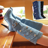 High Heel  Denim Jean Boots
