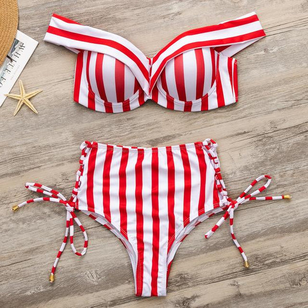 Off Shoulder Bikini Top with High Waist, Side Tie Bottoms