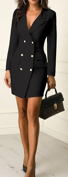 Blazer Dress or Overcoat, Double Breasted with Gold Button Accents