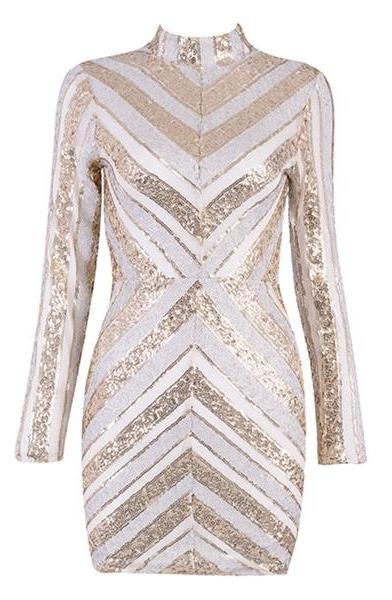 Spring Long Sleeve Sequined Formal Dress
