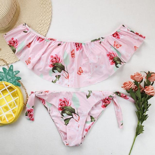 Tropical, Floral Print String Bikini