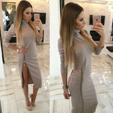 Long Sleeve High Neck Dress with Zipper Slit
