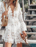 Lace Embroidery Dress-Bathing Suit Coverup