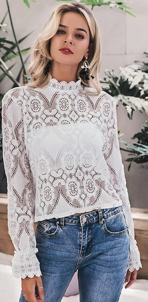 Lace Blouse with Sexy Hollowed Out Embroidery