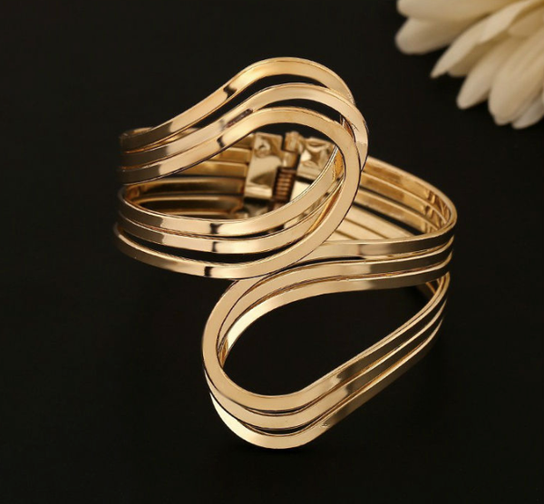 Bold Gold Cuff Bangle Bracelet
