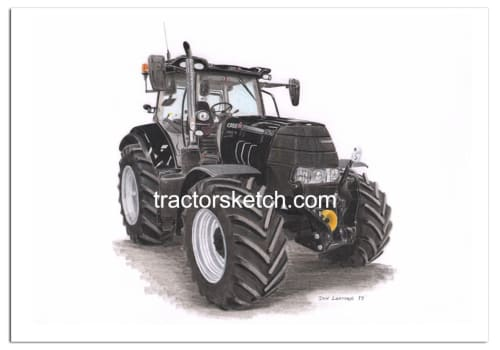 Case IH,Puma 165 , Tractor,  Ian Leather, Tractor Art, Drawing, Illustration, Pencil, sketch, A3,A4