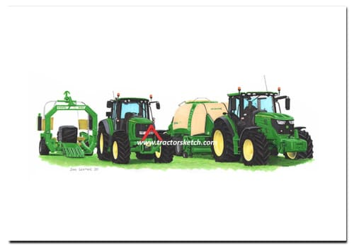 John Deere,6R, 6155R, 6930  Tractor,  Ian Leather, Tractor Art, Drawing, Illustration, Pencil, sketch, A3,A4