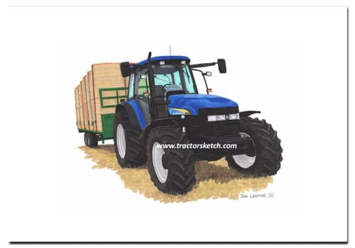 New Holland, TM140, Tractor, Carting Bales, Ian Leather, Tractor Art, Drawing, Illustration, Pencil, sketch, A3,A4