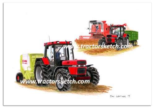 Case IH,1056XL , Tractor,  Ian Leather, Tractor Art, Drawing, Illustration, Pencil, sketch, A3,A4