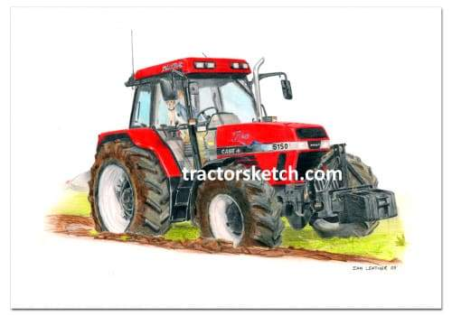 Case IH,Maxxum 5150 , Tractor,  Ian Leather, Tractor Art, Drawing, Illustration, Pencil, sketch, A3,A4