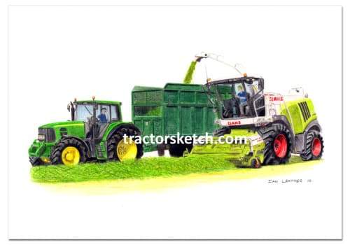 John Deere,6830, Tractor, Bailey Trailer, Ian Leather, Tractor Art, Drawing, Illustration, Pencil, sketch, A3,A4