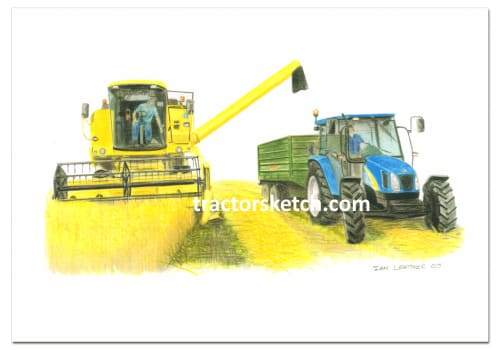 New Holland,Combine,  Tractor,  Ian Leather, Tractor Art, Drawing, Illustration, Pencil, sketch, A3,A4