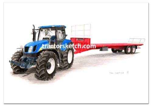 New Holland,T6080 & Marshall Bale Trailer,  Tractor,  Ian Leather, Tractor Art, Drawing, Illustration, Pencil, sketch, A3,A4