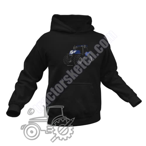 Men's Unisex New Holland T7 Blue Power Tractor Hoodie Jumper Silhouette Tractor collection