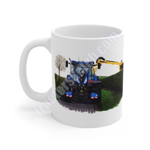 New Holland T7 Tractor & Hedgecutter Mug Coffee Tea Cup