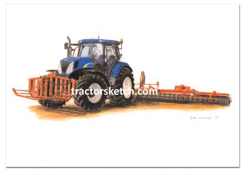 New Holland,T7030 & Vaderstad Rolls,  Tractor,  Ian Leather, Tractor Art, Drawing, Illustration, Pencil, sketch, A3,A4