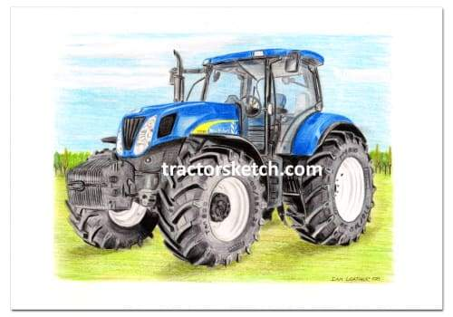 New Holland,T7040,  Tractor,  Ian Leather, Tractor Art, Drawing, Illustration, Pencil, sketch, A3,A4