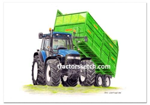 New Holland, TM140 & Fraser Trailer  Tractor,  Ian Leather, Tractor Art, Drawing, Illustration, Pencil, sketch, A3,A4