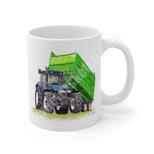 New Holland TM140 Tractor & Fraser Trailer Mug Coffee Mugs