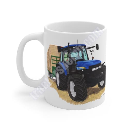 New Holland TM140 Tractor carting Bales Coffee Mug Cup