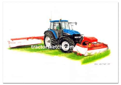 New Holland,TM190 & Kuhn Mowers,  Tractor,  Ian Leather, Tractor Art, Drawing, Illustration, Pencil, sketch, A3,A4